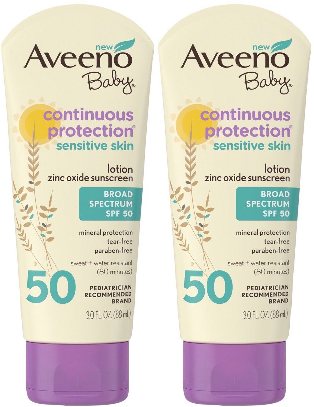 AVEENO Baby Continuous Protection Sensitive Skin Lotion Zinc Oxide Sunscreen SPF 50 3 oz ( Pack of 2)