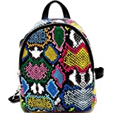 Small Mini Convertible Snakeskin Print Fashion Backpack Purse Shoulder Bag Neon Yellow Pink