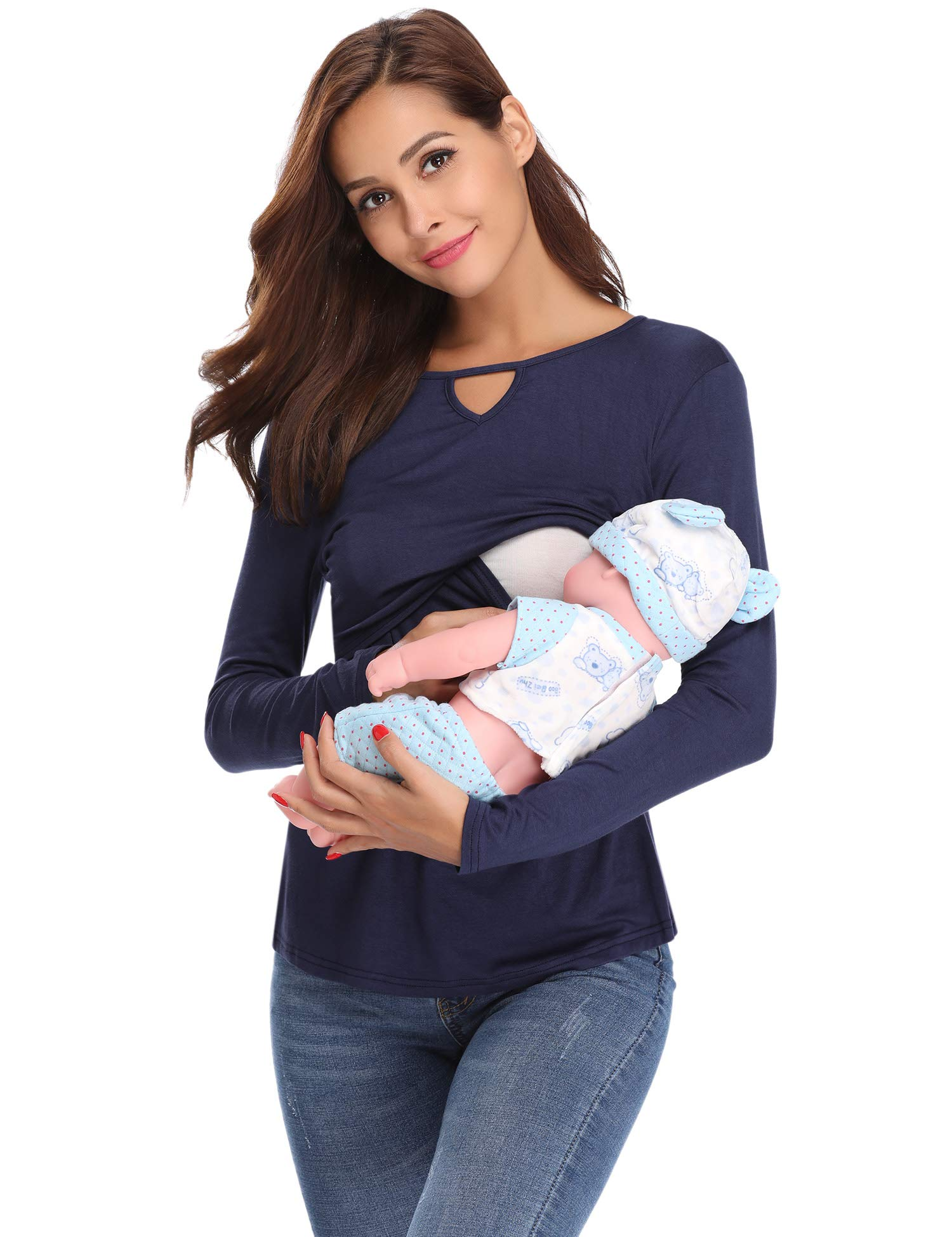 Abollria Women\'s Maternity Tee Long Sleeve Soft Easy Breastfeeding Tops Shirts