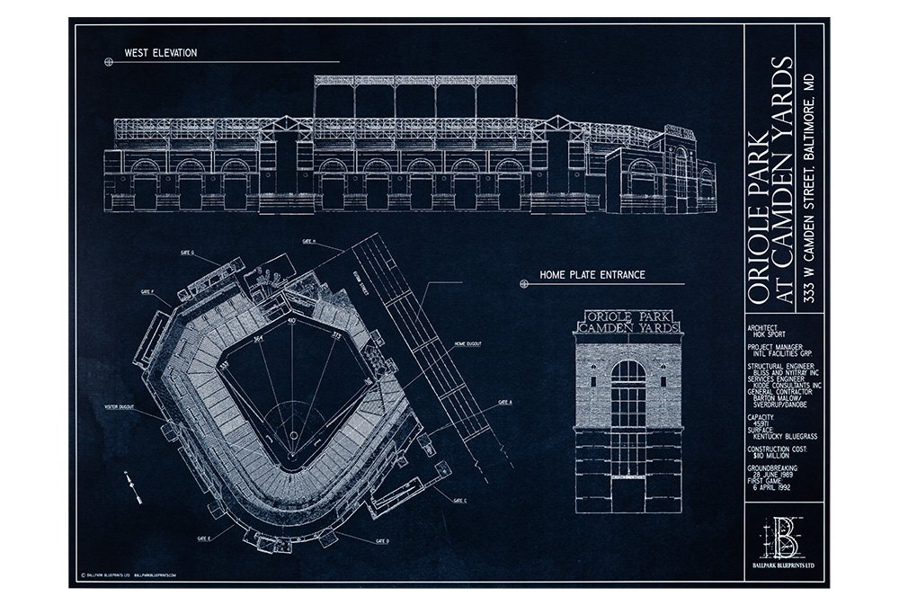 Amazon.com: Oriole Park at Camden Yards Blueprint Estilo ...