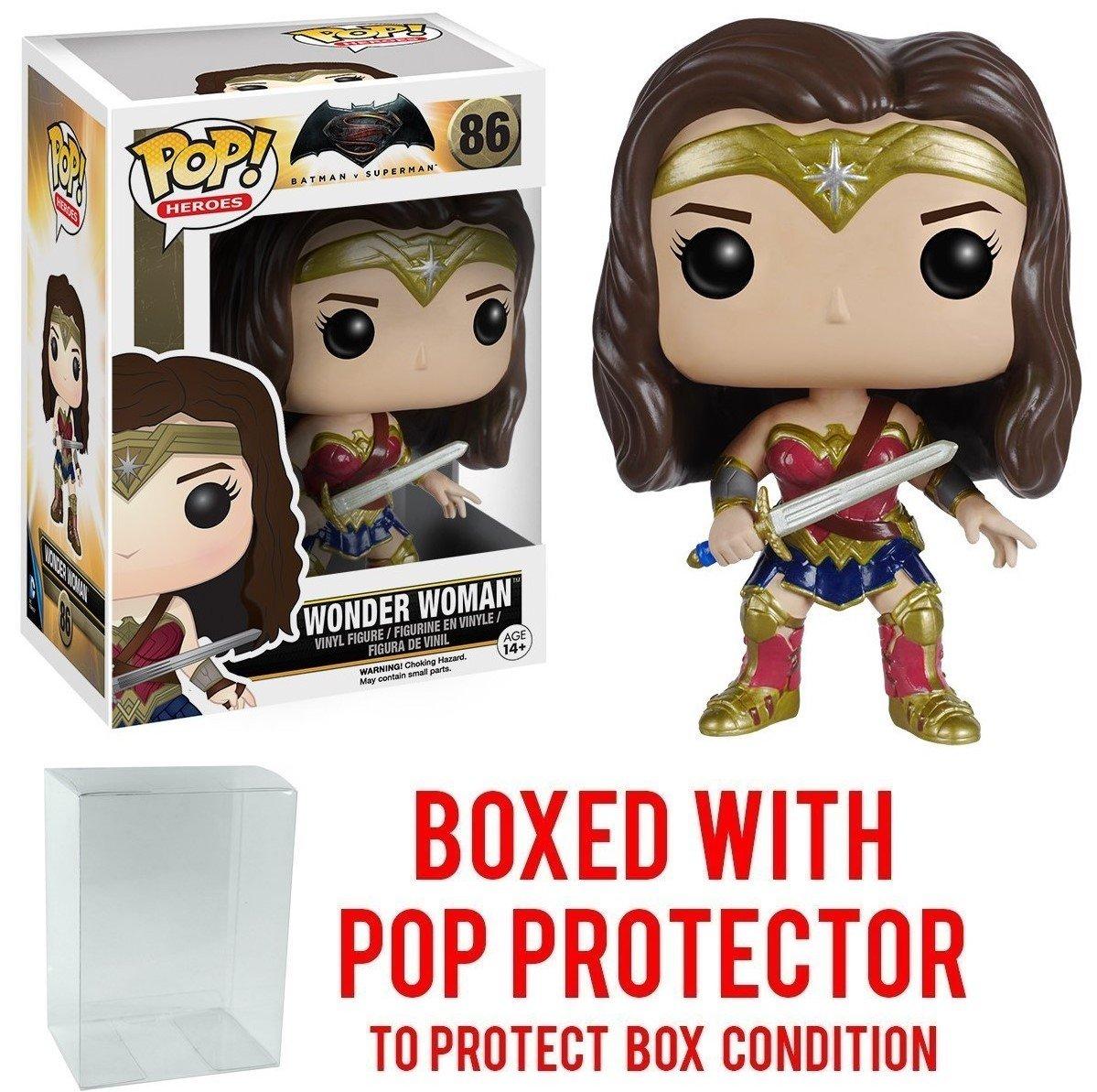 Funko Pop Wonder Woman #86 Vinyl Figure DC Heroes: Batman vs Superman Movie Bundled with Pop BOX PROTECTOR CASE