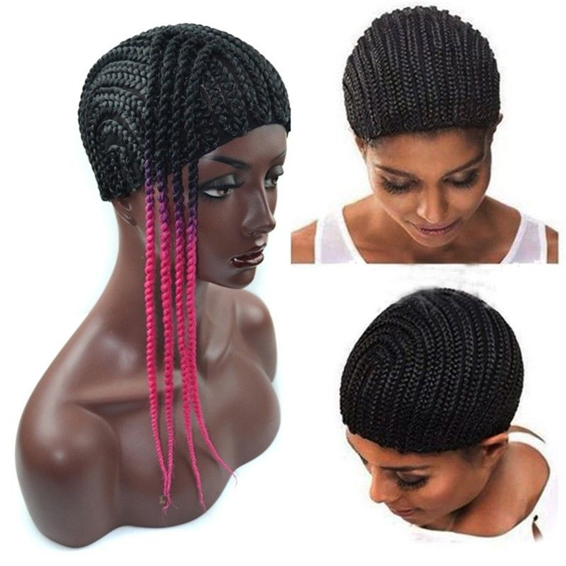 Black Hairnets Cap Cornrow Wig For Making Crochet Braid Weave Cap