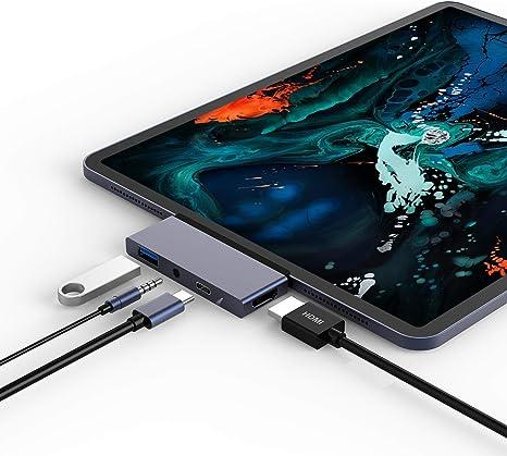 Hub USB-C para iPad Pro 2018 e (Laptop e smartphone com porta tipo C 3.0), adaptador 4 em 1 com carregamento PD USB-C/4K HDMI/USB 3.0/Interface de áudio auxiliar de 3, 5 mm