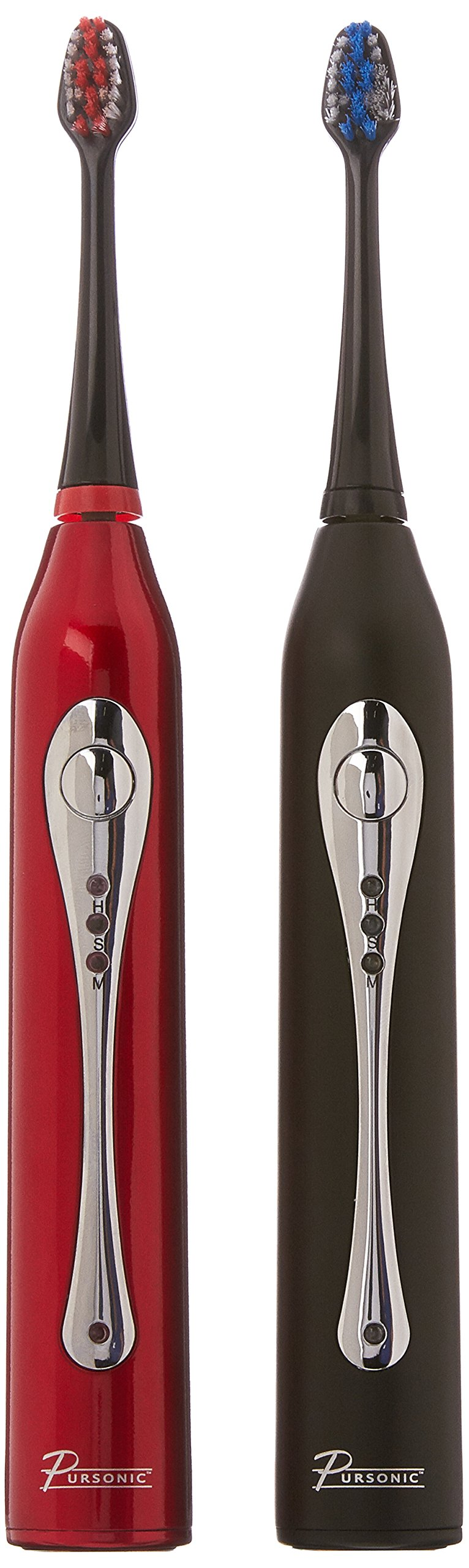 Pursonic S452BR Dual Handle Sonic Toothbrush with UV Sanitizer Black and Red