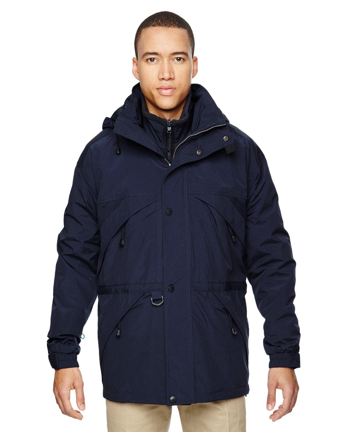Ash City Mens 3-in-1 Parka with Dobby Trim (X-Small, Midnight Navy)