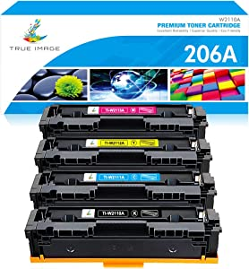 True Image Compatible Toner Cartridge Replacement for HP 206A 206X W2110A W2110X M283fdw HP Color Laserjet Pro M255dw MFP M283cdw M283 M255 Printer Toner (Black Cyan Yellow Magenta, 4-Pack)