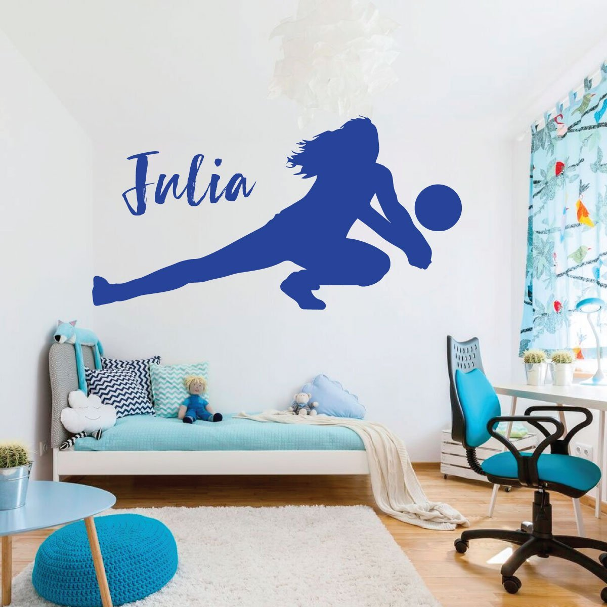 Sports Decorations Personalized Vinyl Decor For Girls Bedroom or Playroom Volleyball Wall Decal