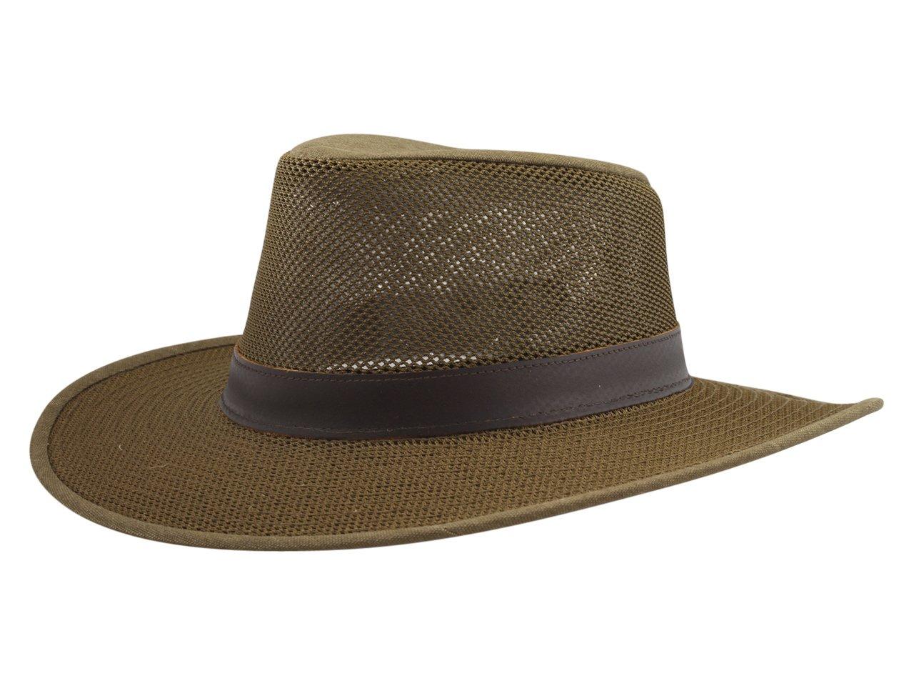 Henschel Adventurer Mesh Breezer Hat with Leather Band, Earth, Medium