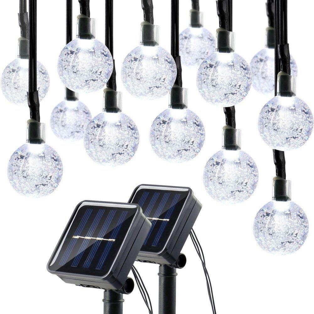 Lumitify 2 Pack Globe Solar String Lights Outdoor 19.7ft 30 LED Fairy Crystal Ball Solar Decorative Lights White