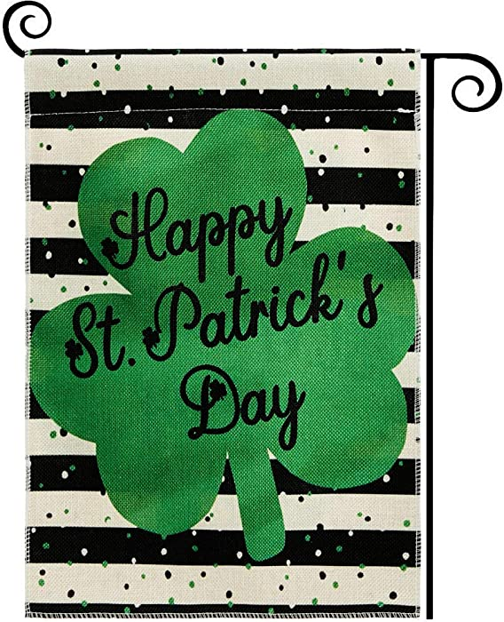 DOLOPL St Patricks Day Garden Flag 12.5x18 Inch Double Sided Decorative Happy St.Patrick's Day Green Shamrock Yard House Flag for St. Patricks Day Outdoor Indoor Decoration Black and Off White