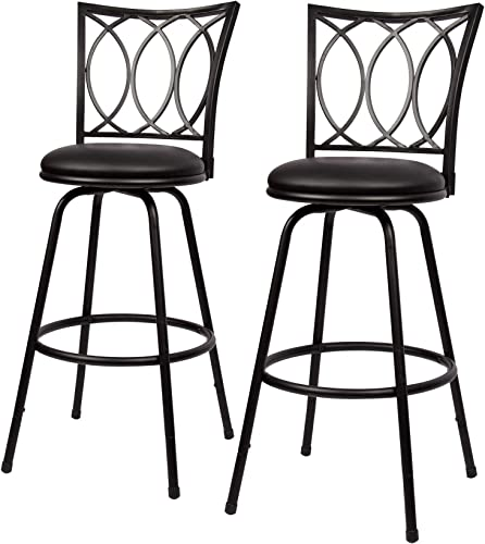 Adjustable Height Metal Bar Stool Set of 2 with Accent Backrest Swivel Upholstered Round Seat by THY-HOM