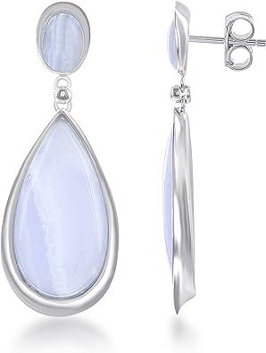 Blue agate stone sterling silver earrings.