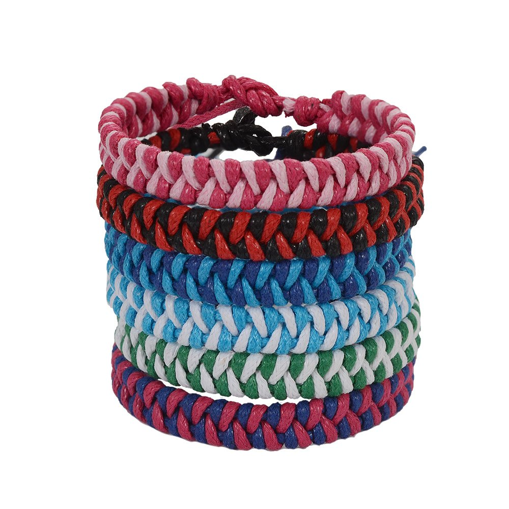 Jeka Friendship Handmade Braided Woven Bracelet Cool Cuff for Women Girl Wrist Anklet Gift 6Pcs Set