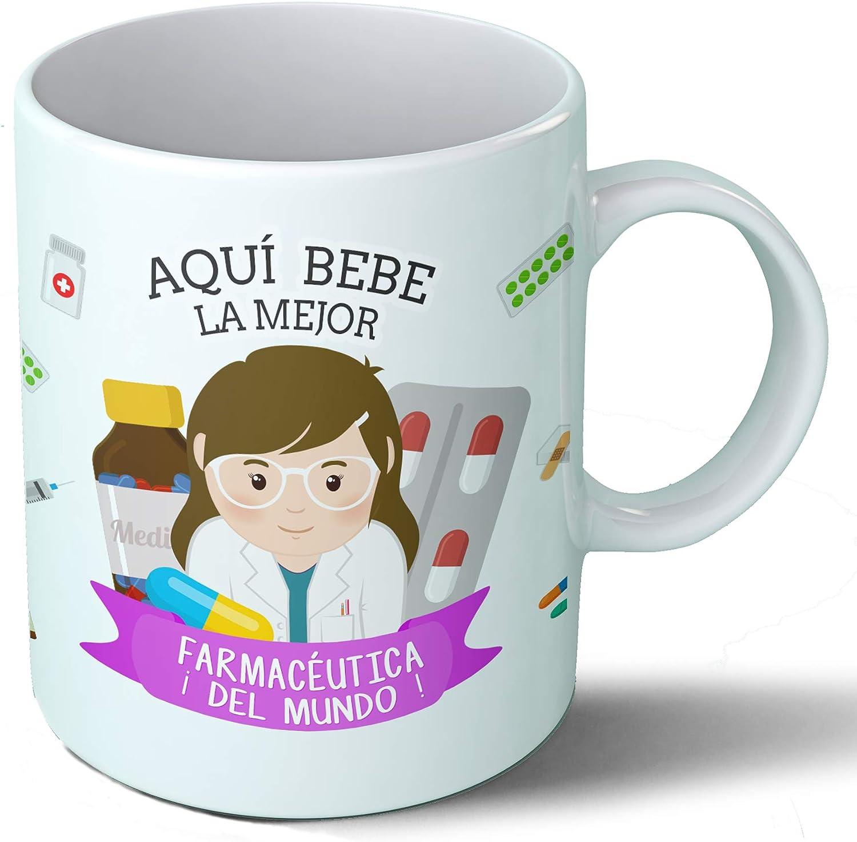 Planetacase Taza Desayuno Aquí Bebe la Mejor farmacéutica del Mundo Regalo Original Farmacia Ceramica 330 mL: Amazon ...