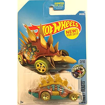Hot Wheels 2020 Street Beasts Motosaurus (Dinosaur Car) 349/365, Bronze and Turquoise: Toys & Games
