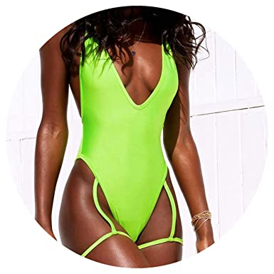 78db15c4f3a13 Swimming Suit One Piece Swimsuit High Leg Sling Neon Swimsuits Sheer  Swimwear Strap Badpak 3 Color