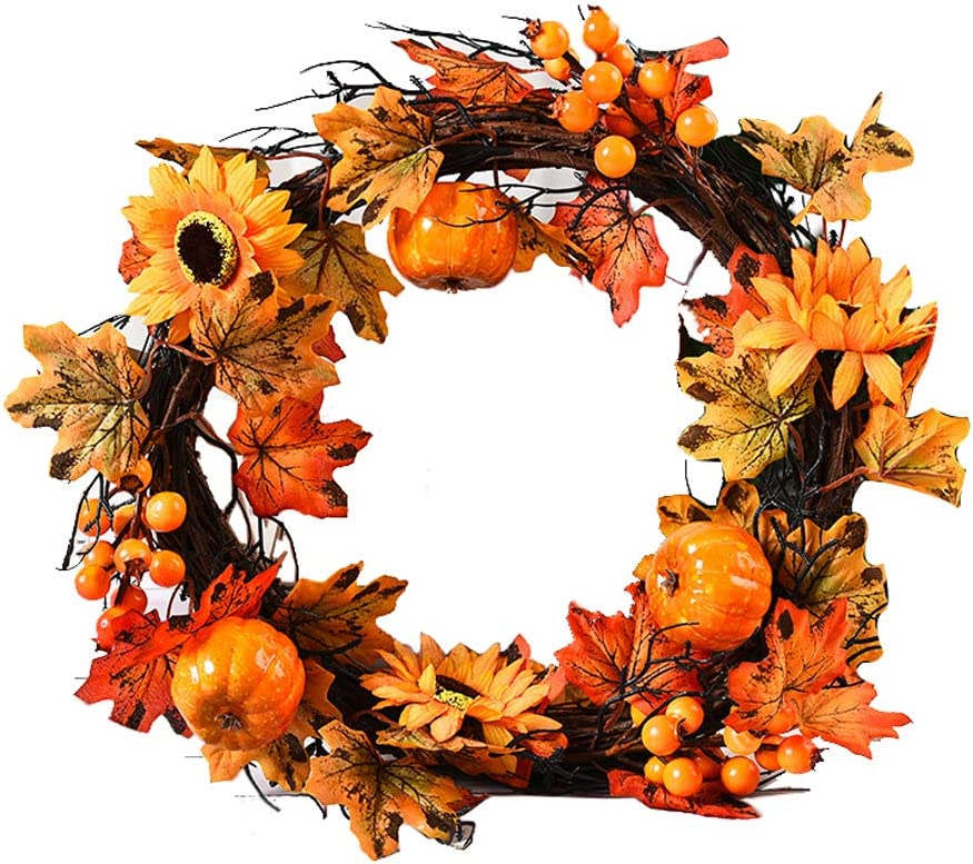 Fall Halloween Thanksgiving Wreath Decoration Pumpkin Flower Maple Autumn Leaf Berry Wreath Christmas Decoration for Front Door Wall Window Celebrate Festival Party Favors Home Decor Supplies