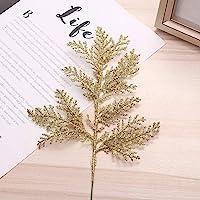 DUDNJC 10Pcs Artificial Christmas Glitter Fern Leaf, Gold Simulated Tree Branch Spray Christmas Tree Ornament, DIY Xmas…