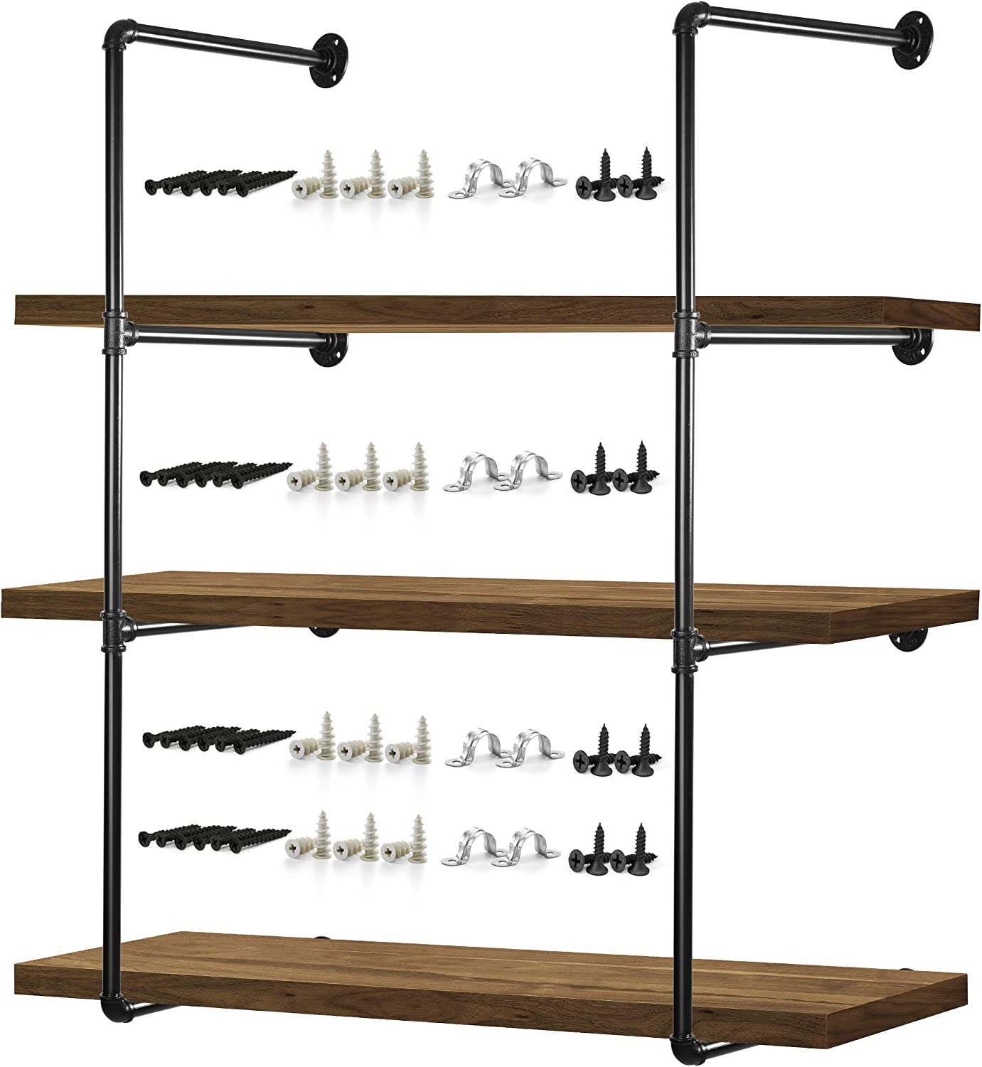 """Pipe Shelves – 2 PCS (43"""" Tall) Industrial Pipe Shelving – Pipe Shelf Bracket for Wood Floating Shelf Vintage Look - Rustic Pipe Decor with All Accessories Needed (Shelf Not Included) (4 Tier 43"""")"""