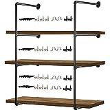 "Pipe Shelves – 2 PCS (43"" Tall) Industrial Pipe Shelving – Pipe Shelf Bracket for Wood Floating Shelf Vintage Look - Rustic P"
