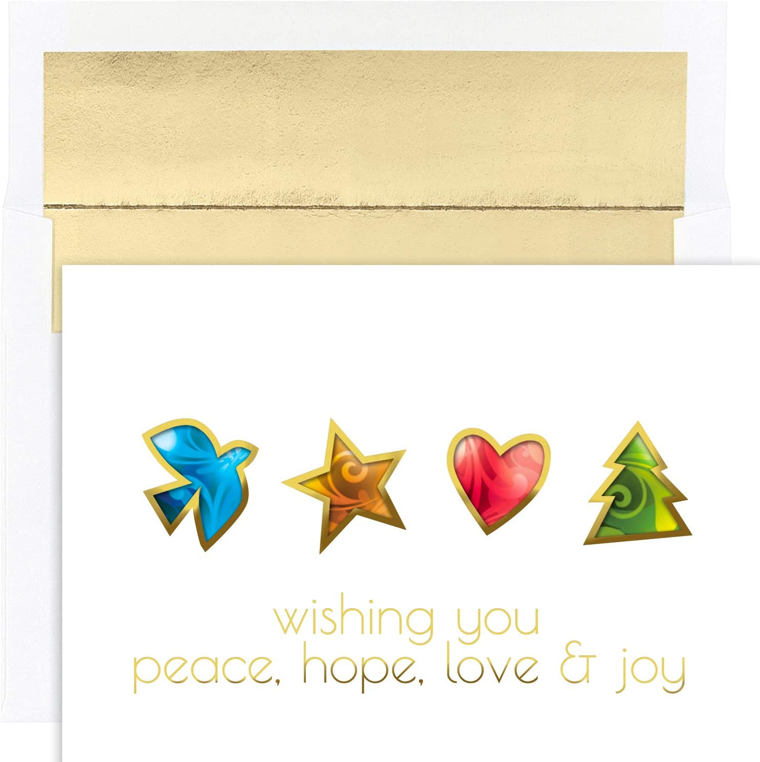 Masterpiece Studios Holiday Collection 16 Cards / 16 Foil Lined Envelopes, Peace Hope Love & Joy