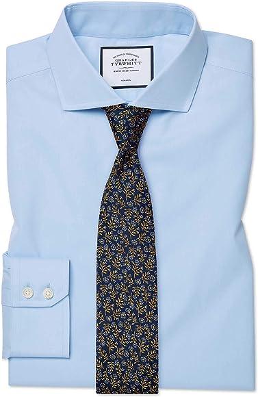 Charles Tyrwhitt Camisa Azul Celeste de Sarga y Corte clásico con Cuello Italiano: Amazon.es: Ropa y accesorios