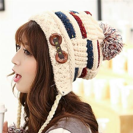 BTBTAV Un Sombrero de Mujer Dama Invierno cálido Gorro de Punto en otoño y en Invierno, Calles con Orejas de Terciopelo cálido Hat,M (56-58cm), ...
