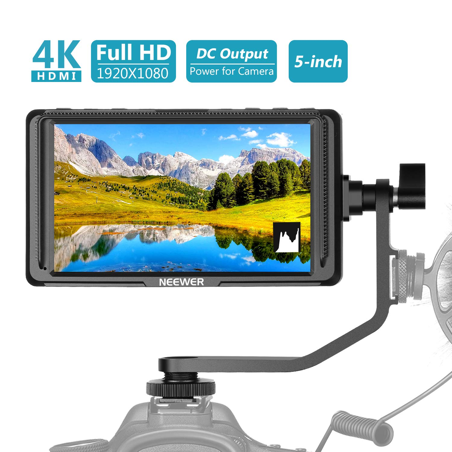 Neewer F5 5-Inch Camera Field Monitor Full HD 1920x1080 IPS with 4K HDMI 8.4V DC Input Output Video Peaking Focus Assist with Swivel Arm for Sony Nikon Canon DSLRs and Gimbals (Battery Not Included) by Neewer