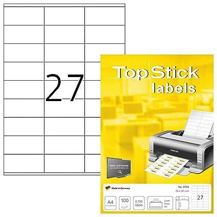 TopStick 8704 - Etiquetas autoadhesivas universales A4 pequeño (70 ...
