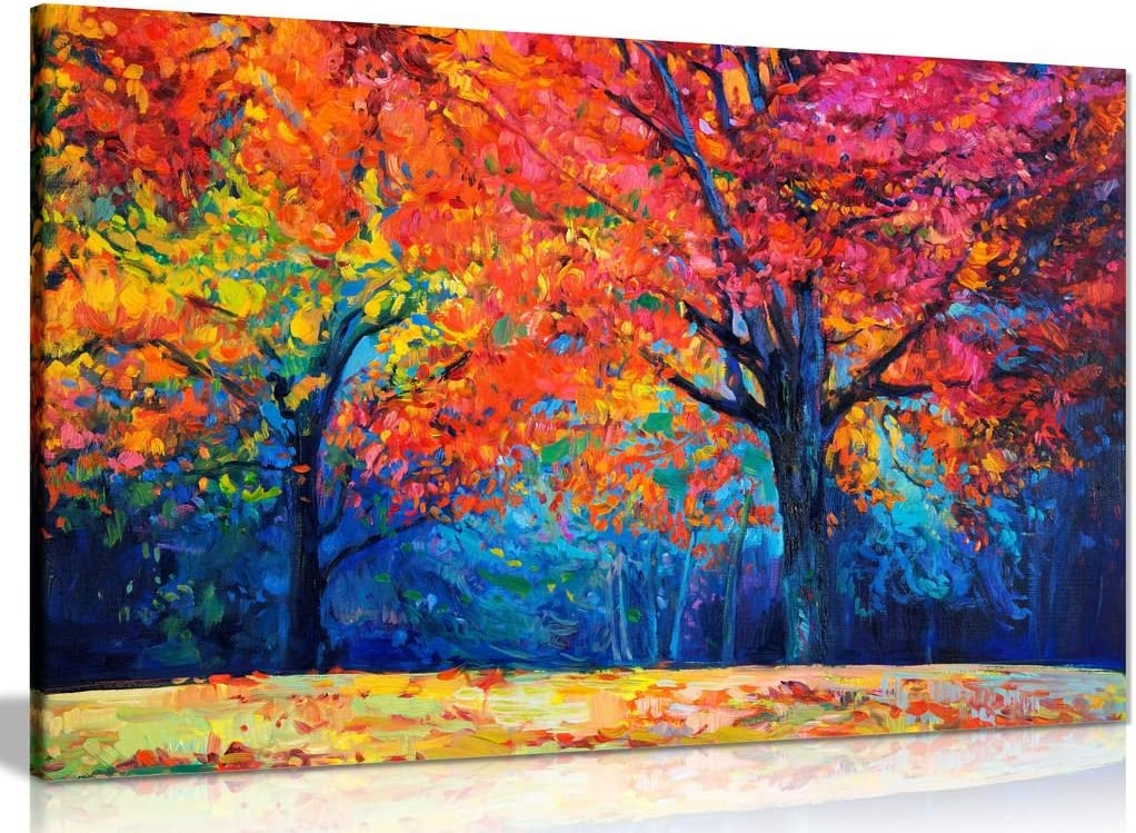 AUTUMN TREES LAKE COLOURFUL LANDSCAPE WALL ART CANVAS PICTURE PRINT VARIOUS SIZE
