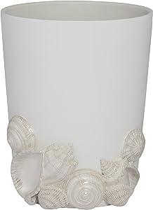 Creative Bath Products SEA54MULT Seaside Waste Basket, Beige/White