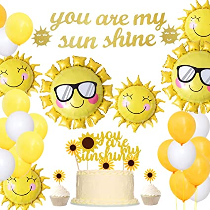 happy sun balloon summer birthday party baby shower smiling sun pool party sunshine beach You are My Sunshine party decorations
