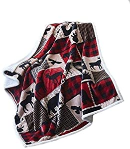 Virah Bella Lodge Life Flannel Throw Blanket with Sherpa Backing 50' X 60'