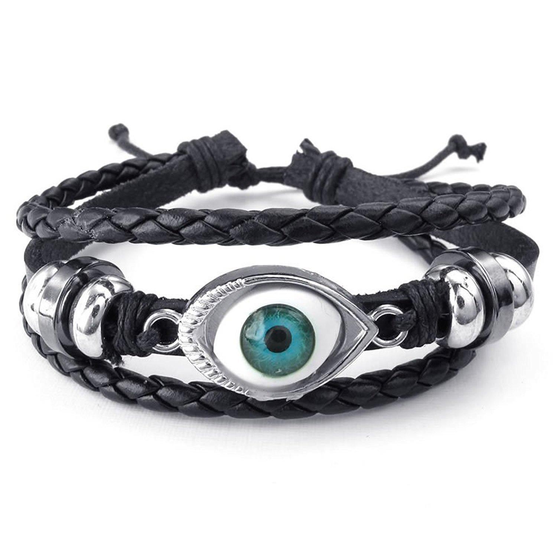 MENDINO Mens Womens Leather Bracelet Blue Evil Eye Adjustable Bangle Black Silver JBR0238BL
