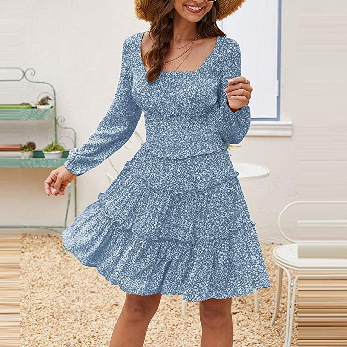 TOFOTL Vintage Retro Rockabilly Swing sukienka damska, modna dekolt w kształcie litery O, seksowny nadruk kwiatowy, smukła sukienka z długim rękawem: Odzież