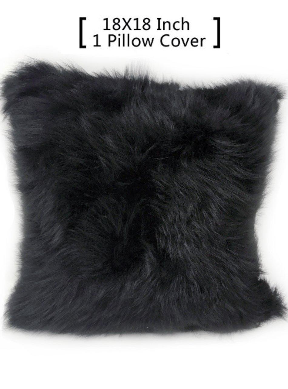 100% Real Alpaca Fur Pillow Cover 18x18 (Black)