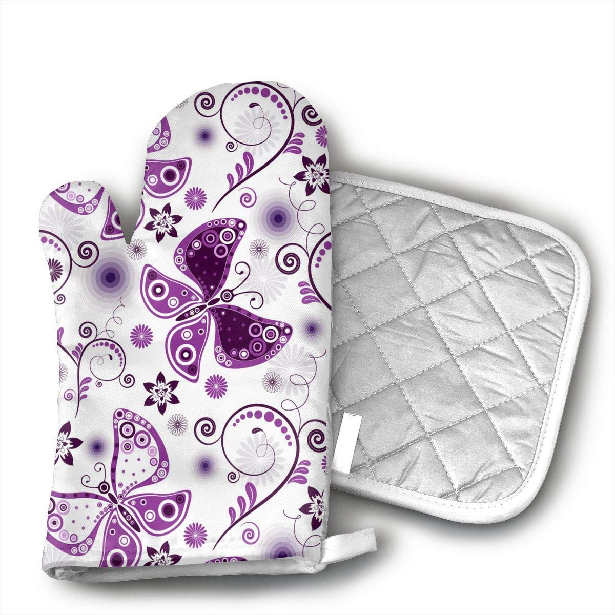 NoveltyGloves Purple Pattern Butterfly Oven Mitts,Professional Heat Resistant Microwave BBQ Oven Insulation Thickening Cotton Gloves Baking Pot Mitts Soft Inner Lining Kitchen Cooking
