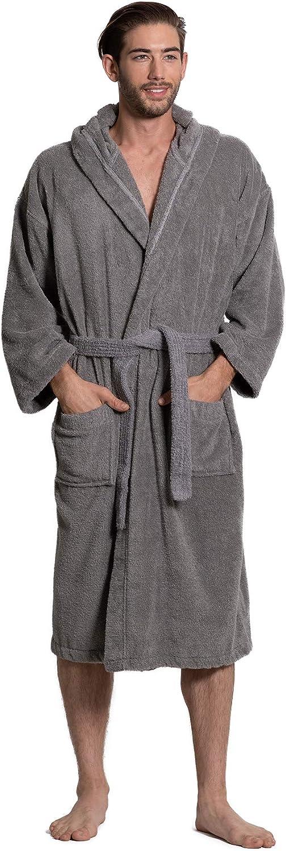 Turkuoise Men's Turkish Terry Cloth Robe, Thick Hooded Bathrobe
