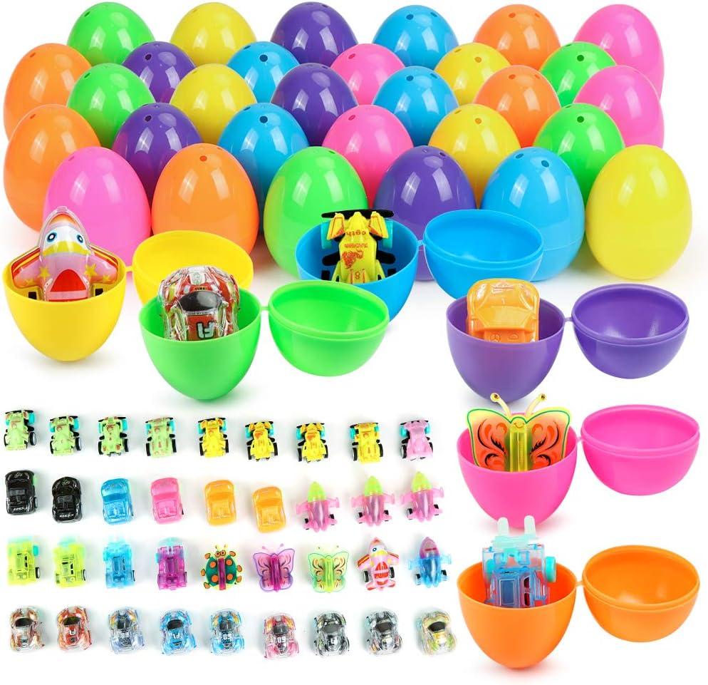 O-Kinee Huevos de Pascua, 36 Piezas Huevos de Plastico para Relleno, Huevos Sorpresa Juguetes, Decoración de Pascua Huevo de Pascua, 36 Piezas Juguete Huevos, para Regalos de Pascua