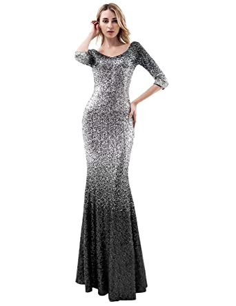 63391e2dee99 Women s 3 4 Sleeves Mermaid Sequins Prom Evening Dress Formal Party Gown  Black   Silver