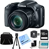 Canon PowerShot SX530 HS 16MP 50x Opt Zoom Full HD Digital Camera Black Bundle Incl. 16GB SD Card, 1150mah Battery, Gadget Bag, Hispeed SD USB Card Reader, 3pc. Lens Cleaning Kit & Microfiber Cloth