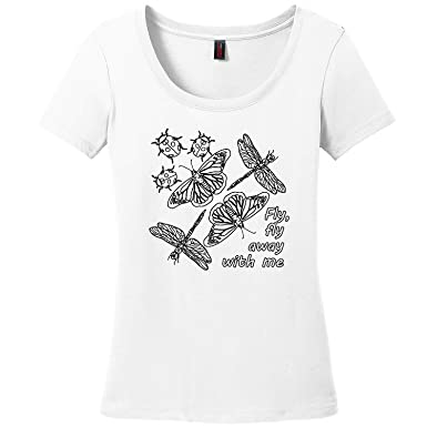 4cca4eba4 BT Custom Womens Fly, Fly Away with Me Coloring Shirt, Short Sleeve Scoop  Neck