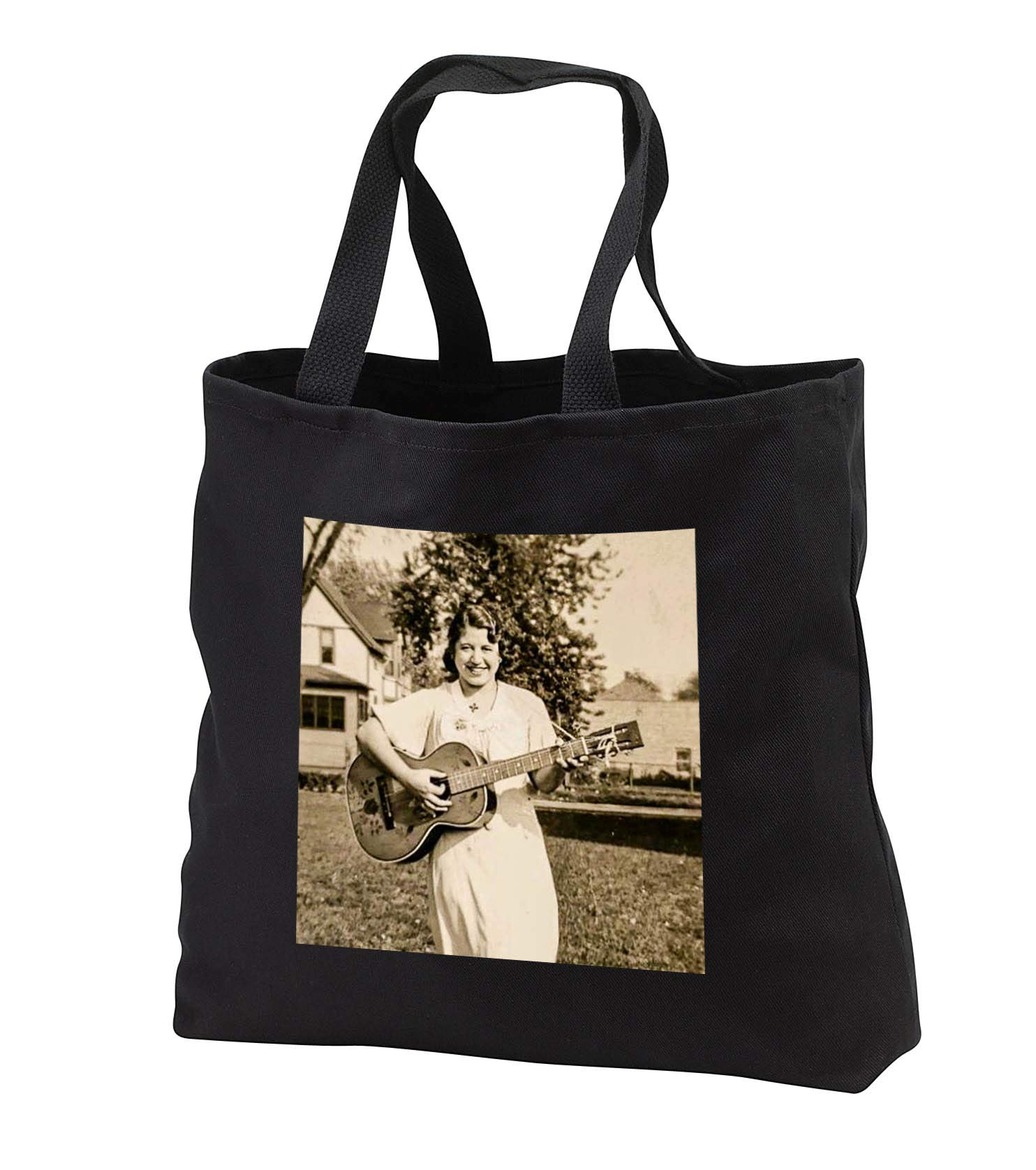 Scenes from the Past - Vintage Photography - Early American Country Folk Singer with Guitar - Tote Bags - Black Tote Bag JUMBO 20w x 15h x 5d (tb_301328_3) by 3dRose