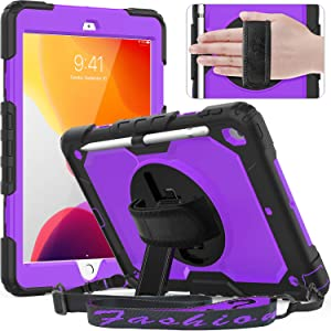 Timecity Case for iPad 8th/ 7th Generation, iPad 10.2 Case with Built-in Screen Protector Pencil Holder, Heavy Duty Protective Cover with 360°Rotatable Stand Adjustable Hand/ Shoulder Strap, Purple