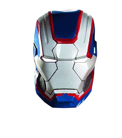 Amazon.com: Disguise Marvel Iron Man 3 Iron Patriot Vacuform Mask Costume Accessory, Blue/Red, One Size Adult: Clothing