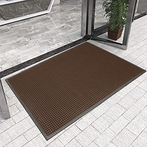DEXI Durable Indoor Outdoor Door Mat, 72×48 Heavy Duty Rubber Doormat, Waterproof, Esay Clean, Low-Profile Mats for Entry, Garage, Patio, High Traffic Areas, Brown