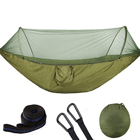 Amazon Com Portable Hammock With Mosquito Net Parachute Fabric