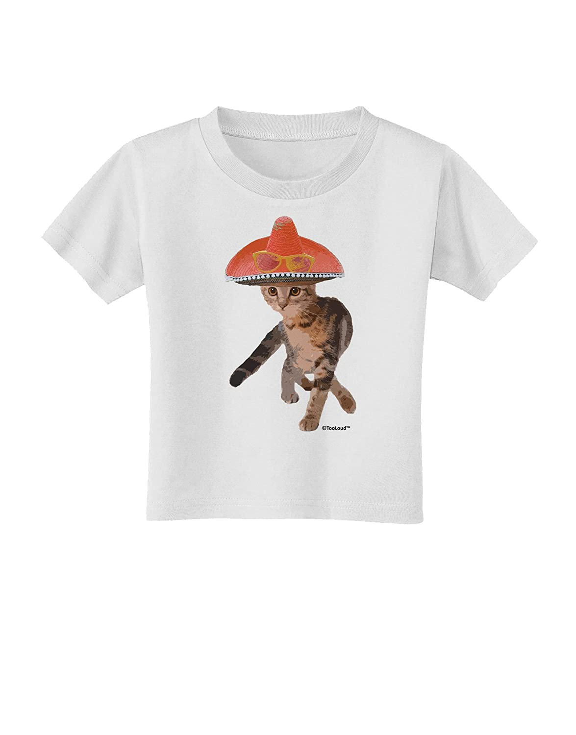 TooLoud Cat with Sombrero and Sunglasses Toddler T-Shirt