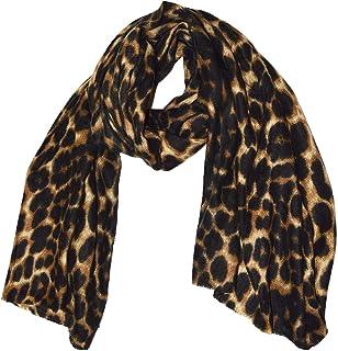 UK Women Ladies Mustard Yellow Stripe Blue Leopard Print Animal Scarf Shawl Wrap