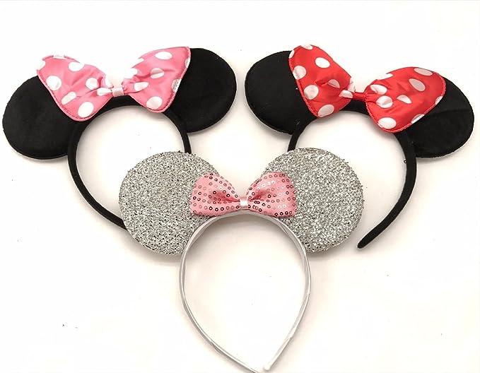 Silver Red Bow Mickey Silver Mickey Mickey Wholesale Mickey Ears Mouse Ear Mickey Headband Mickey Minnie Ear Headband Birthday Mickey